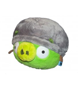 Peluche Angry Birds Cochon Vert Casque - Green Plush Soft Toy - H 23 cm - No sound