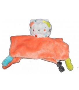 Doudou Plat LION orange - ORCHESTRA - 4 Noeuds - Revers rayé blanc gris