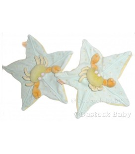 Doudou plat CRaBE jaune bleu vert - MOULIN ROTY - Etoile - 30 cm
