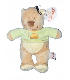 Doudou Peluche OURS Bengy Pull Vert Ruche 2006 26 cm