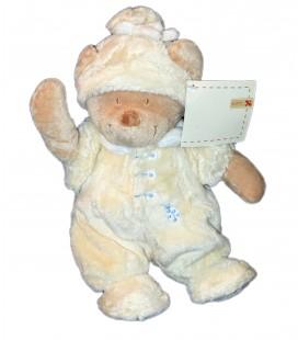 Peluche doudou OURS beige jaune marron Nicotoy - 28 cm - Combinaison Pyjama coccinelle Bonnet