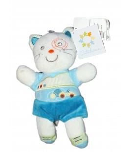 Peluche doudou CHAT bleu blanc - Kitchoun Kiabi Nicotoy - 24 cm