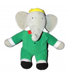 Peluche Doudou Elephant BABAR Gris vert AJENA NOUNOURS - 32 cm