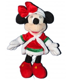 Doudou peluche MINNIE - Manteau rouge Noël - 26 cm - Disneyland Paris Disney