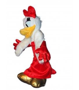 Peluche doudou DAISY - Robe de soirée rouge - H 30 cm - Disneyland Paris - Boutique Disney