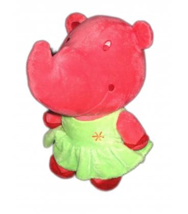 Doudou Peluche RHINOCEROS rose - Robe verte - Ti Lidou Malin - H 26 cm