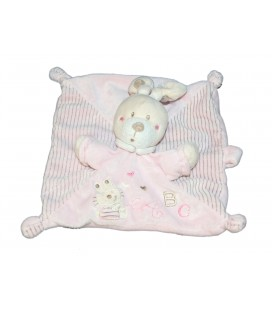 Doudou lapin plat rose NICOTOY ABC attache sucette raye