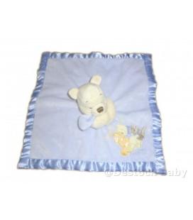 Doudou plat bleu WINNIE L'ourson - The Pooh - Baby Comforter - Disney Store 34cm