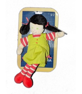 Doudou Poupée Robe Verte - Rayures rouges - Ajena Nounours H 28 cm