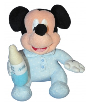 Doudou peluche MICKEY Bébé - Pyjama grenouillère Biberon Milk - Disney Disneyland Paris 22 cm