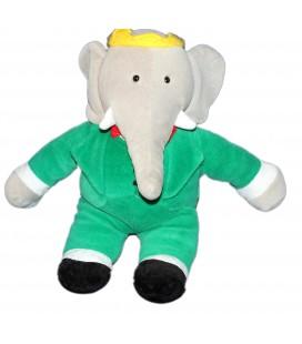 Peluche Doudou Elephant BABAR Gris vert AJENA NOUNOURS - 32 cm - 6481