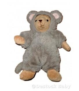 Doudou Souris beige grise Déguisée en ours - Déguisours 30 cm HISTOIRE D'OURS