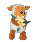 RARE ET COLLECTOR - Doudou peluche WINNIE Déguisé St David's Pooh - Mouton Fleurs Jonquilles - Disney Store - H 22 cm