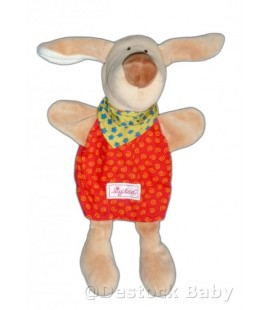 Doudou CHIEN marionnette rouge SIGIKID - 30 cm - Spirales - Foulard Vert
