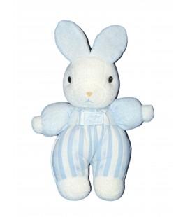 Doudou LAPIN Blanc bleu - TARTINE ET CHOCOLAT - Grelot - H 26 cm