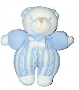 Doudou OURS blanc bleu - TARTINE ET CHOCOLAT - Rayures Grelot -H 20 cm