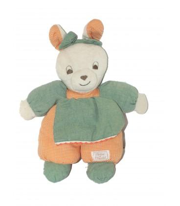 Doudou LAPIN vert orange - TARTINE ET CHOCOLAT - Tablier - H 35 cm