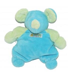 Doudou SOURIS - Vert Bleu turquoise - TARTINE ET CHOCOLAT - Grelot - H 20 cm