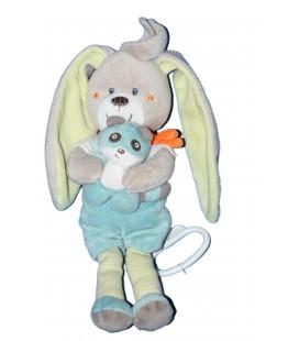 Doudou Peluche Musicale LAPIN bleu gris - Panda - Carrefour CMI Tex Baby