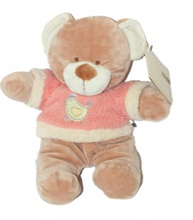 Doudou peluche OURS beige pull rose - NICOTOY Poule brodée - H 24 cm 579/4118