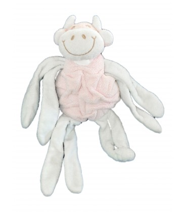 Doudou peluche VACHE blanche rose - Pieuvre - Noeuds - Grelot - TARTINE ET CHOCOLAT - 40 cm