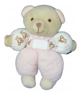 Doudou OURS beige rose Carreaux - TARTINE ET CHOCOLAT - H 20 cm