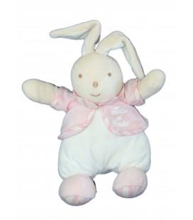 Doudou Peluche LAPIN blanc rose - TARTINE ET CHOCOLAT - assis 22 cm