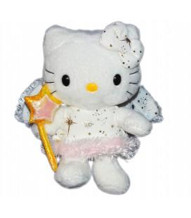 Peluche doudou HELLO KITTY - Rose - Fée Baguette étoile - Licence Sanrio TY 2009 - H 18 cm