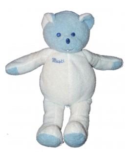 Doudou peluche OURS blanc bleu MUSTI de Mustela 28 cm