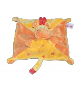 Doudou plat Girafe - POMMETTE - Jaune orange - Ronds