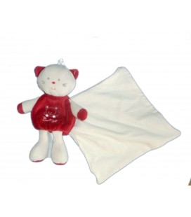 Doudou CHAT Cajou 18 cm blanc rouge BERLINGOT Mouchoir 6603