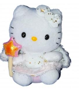 Peluche doudou HELLO KITTY - Rose - Fée Baguette étoile - Licence Sanrio TY Juratoys - H 15 cm