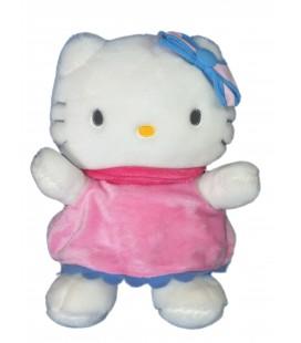 Peluche doudou HELLO KITTY - Robe rose bleue - Licence Sanrio Smile - H 34 cm