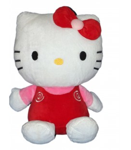 Peluche doudou HELLO KITTY - Licence Sanrio Jemini - Noeud rouge Spirales - H 35 cm