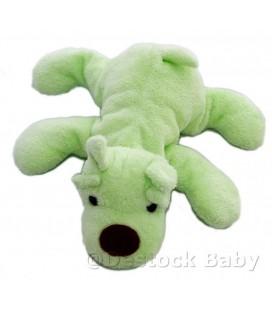 Doudou peluche CHIEN vert nez marron - aJENa - 25 cm allongé