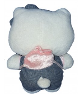 Peluche doudou HELLO KITTY - Sac à dos Salopette Jeans - Licence Sanrio Jemini - Kiabi H 16 cm