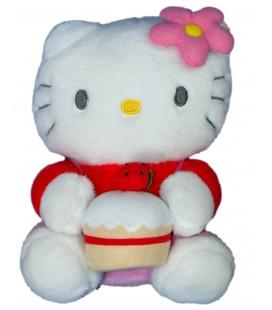 Peluche doudou HELLO KITTY - Gateau - Licence Sanrio Smiles - H 22 cm