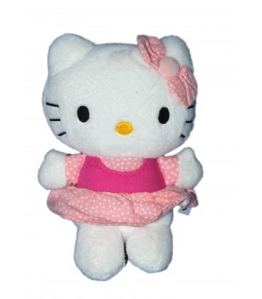 Peluche doudou HELLO KITTY - Robe rose pois blancs - Sanrio Smiles - H 15 cm