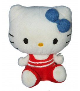 Peluche doudou HELLO KITTY - Maillot rouge rayures blanches - Sanrio - H 14 cm