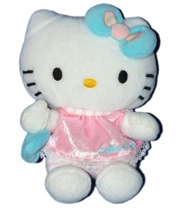 Peluche doudou HELLO KITTY - Sac à main bleu robe rose - Sanrio Jemini - H 15 cm