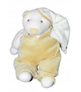 DOUDOU ET COMPAGNIE - OURS blanc Fripon Salopette Marron beige - 30 cm - 6666