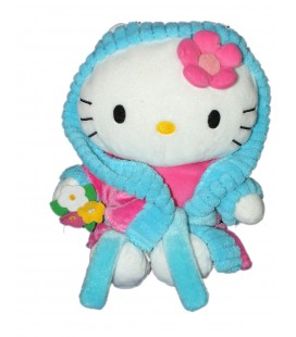 Peluche doudou HELLO KITTY - Fleurs - Peignoir bleu rose - Sanrio Jemini - H 26 cm