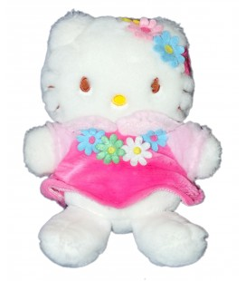 Peluche doudou HELLO KITTY - Fleurs - Robe rose - Sanrio - H 22 cm