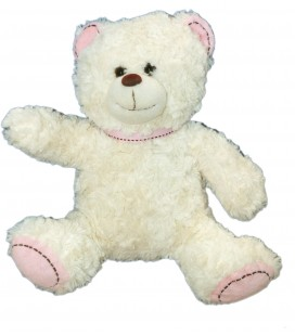 Doudou Peluche OURS Blanc CASINO Noeud Rose Assis 23 cm