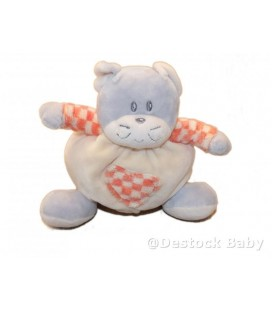 Doudou CHaT Carreaux oranges gris jaune - aJENa - 15 cm