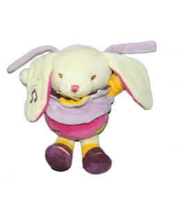 Doudou LAPIN mauve violet rose Musical - BABY NAT Babynat - H 18 cm