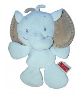 Doudou coussin semi plat - ELEPHANT bleu - NATTOU Jollymex - H 25 cm