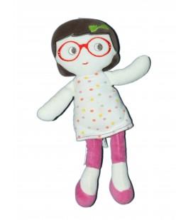 Doudou Poupée lunettes robe pois - SUCRE D'ORGE - 26 cm