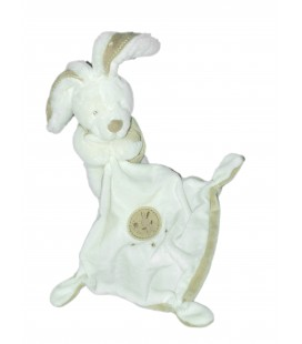 Doudou LAPIN blanc beige Mouchoir - POMMETTE