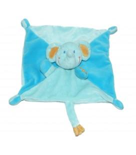 Doudou plat ELEPHANT bleu orange POMMETTE